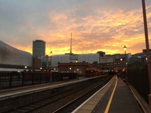Birmingham from Moor Street, after launch of 3 books from Cinnamon Press